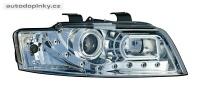 Přední světla (lampy) chromové + DRL denní svícení Audi A4 -- rok výroby 2001-04